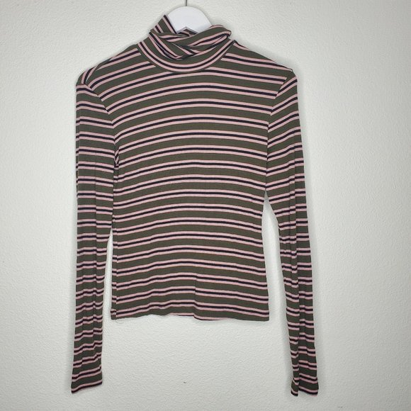 American Apparel Tops - American Apparel Green & Pink Striped Turtleneck